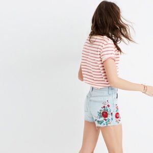 Madewell The Perfect Jeans Short Embroidery NWT